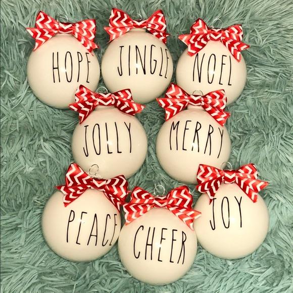 5 Pack Rae Dunn Inspired Christmas Ornaments Nwt